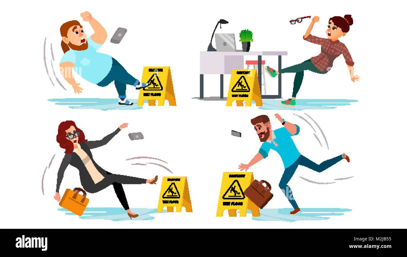 Caution Wet Floor Sign Vector. People Slips On Wet Floor. Situation In Office. Danger Sign. Clean Wet Floor. Isolated Stock Vector