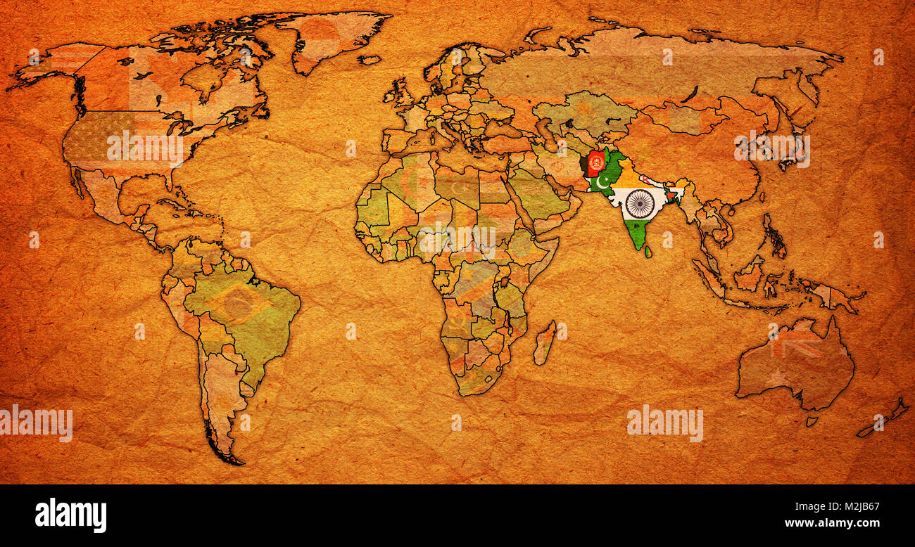 South asian free trade area member countries flags on world map with south asian free trade area member countries flags on world map with national borders gumiabroncs Choice Image
