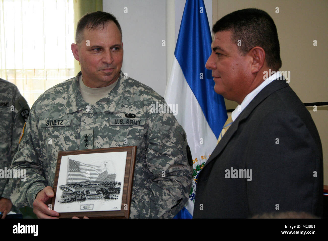Lt. Gen. Jack C. Stultz, Chief, Army Reserve presents a gift to Apastepeque Mayor Juan Pablo Herrera Rivas during - Stock Image