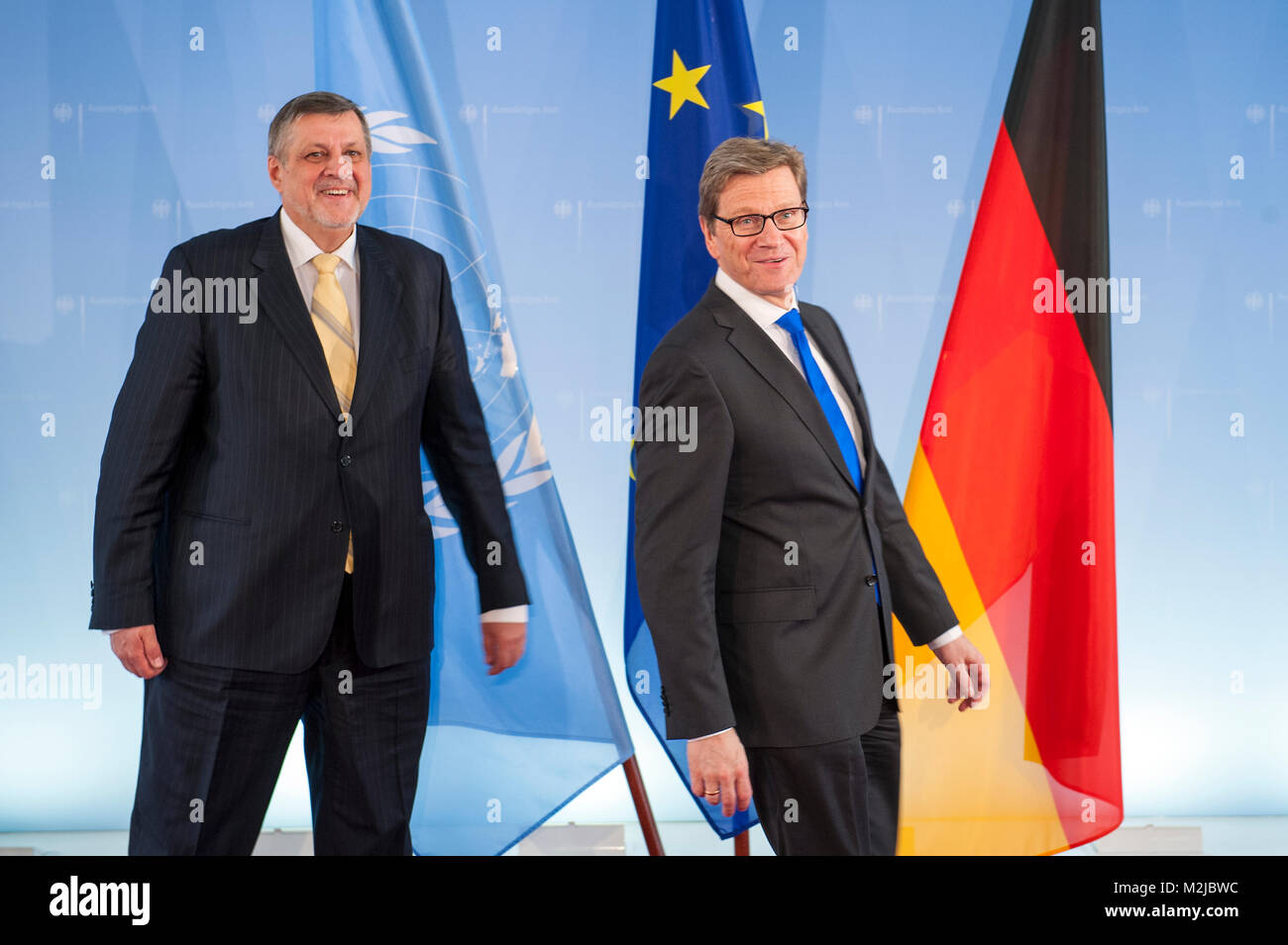 Westerwelle and Kubis discust on the progress towards the full transition of security responsibility to Afghanistan, - Stock Image