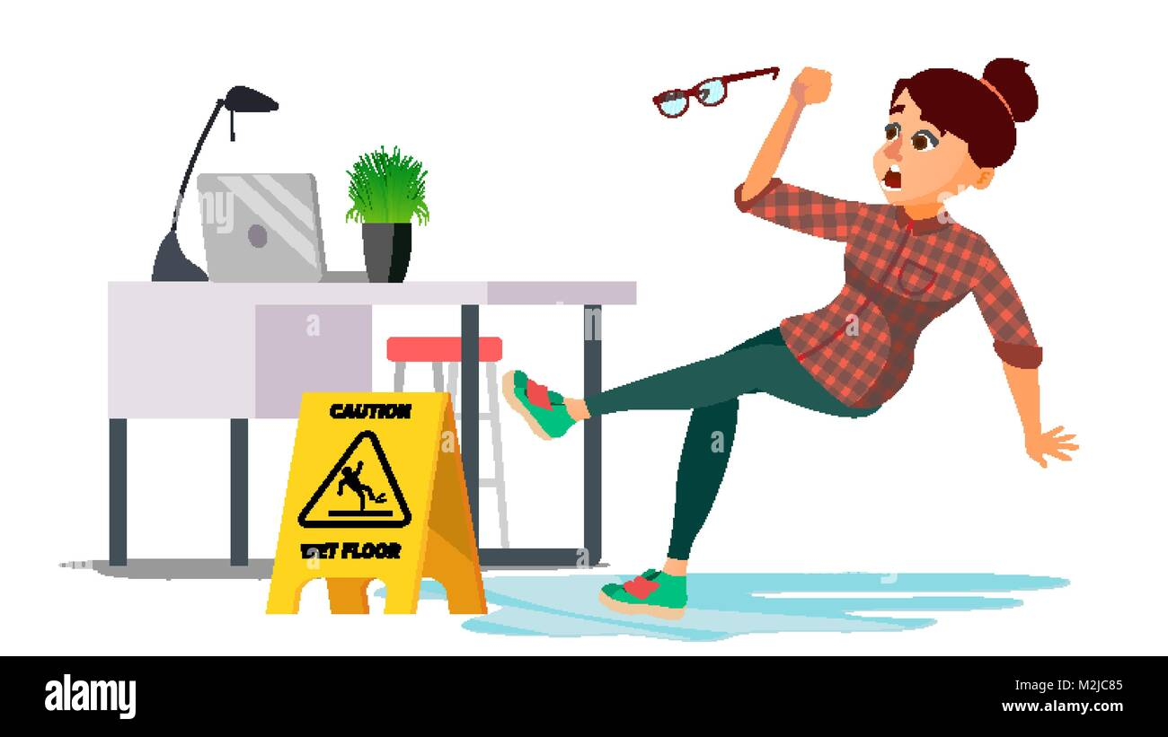 Woman Slips On Wet Floor Vector. Caution Sign. Isolated Flat Cartoon Character Illustration Stock Vector