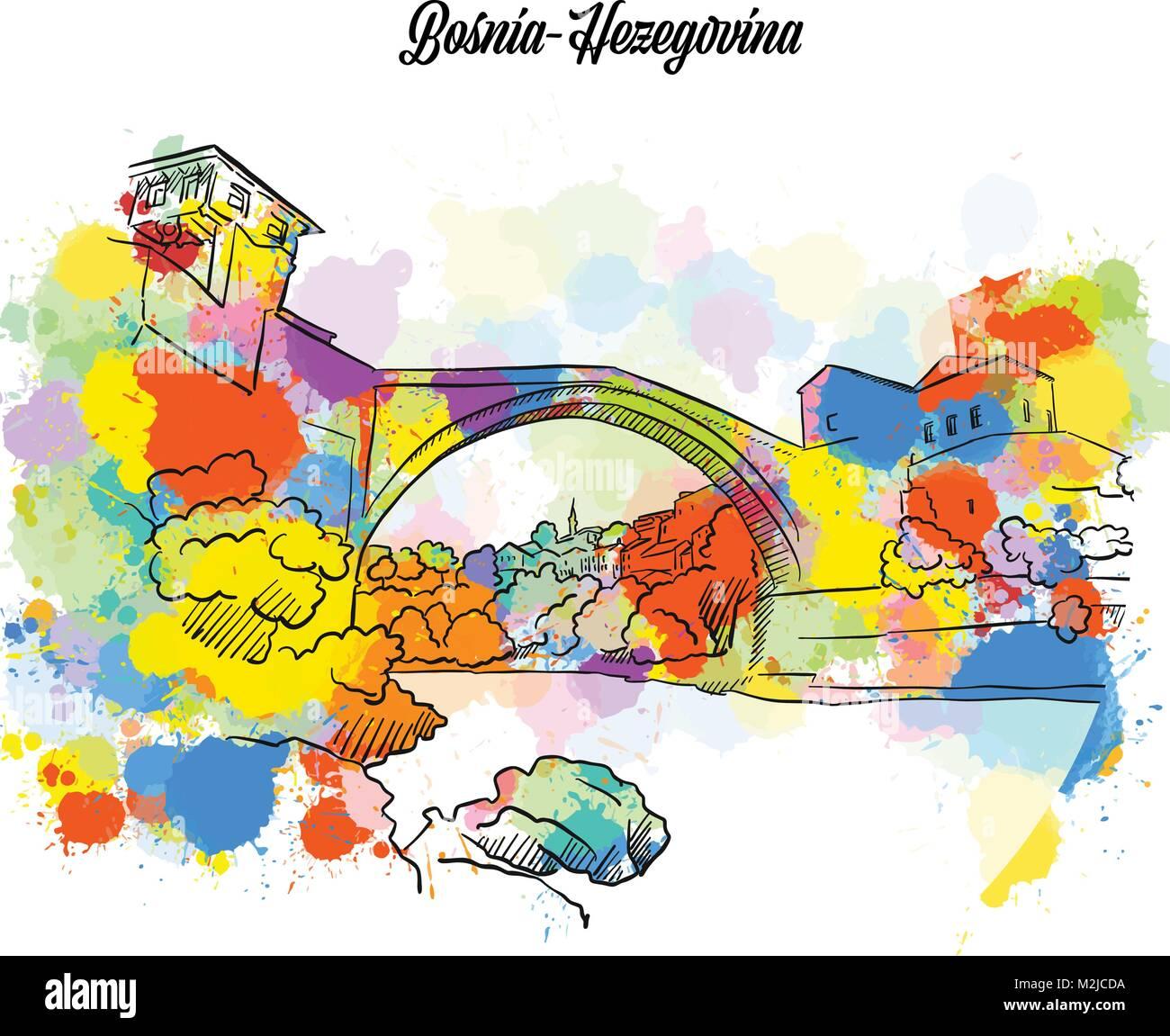 Colorful Mostar Bridge Bosnia-Hezegovina. Hand Drawn Vector Illustration, Paint Splatter Color Isolated on White - Stock Vector