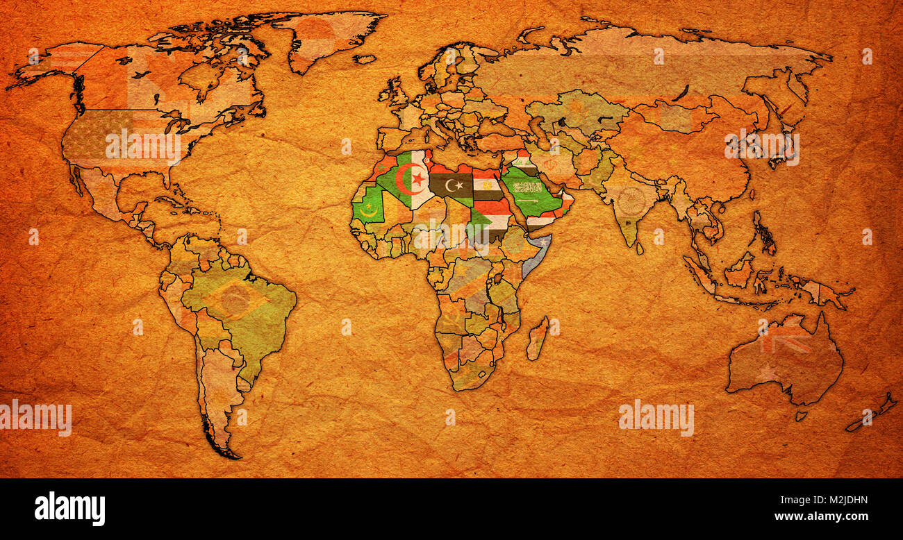 Arab League Member Countries Flags On World Map With National Borders Stock Photo Alamy