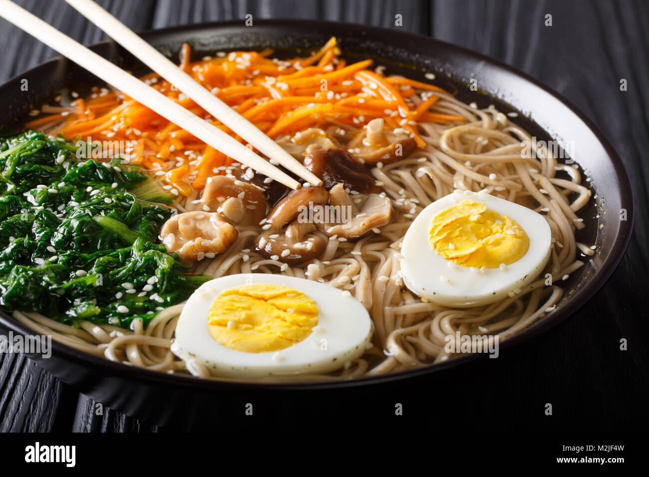 Soba noodles soup with vegetables, shiitake mushrooms, egg and sesame close-up in a bowl. Horizontal Stock Photo
