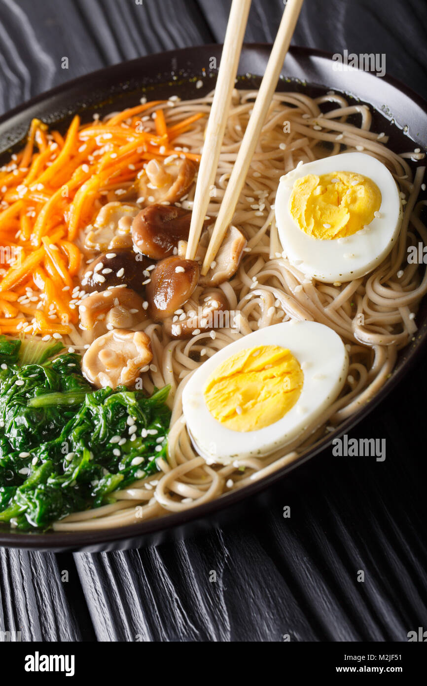 Buckwheat soup noodles with vegetables, shiitake mushrooms, egg and sesame close-up in a bowl. vertical Stock Photo