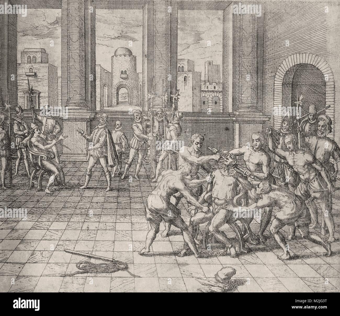 Theodor de Bry - death of atahualpa  the last sapa inca sovereign emperor of the inca empire tawanti - Stock Image