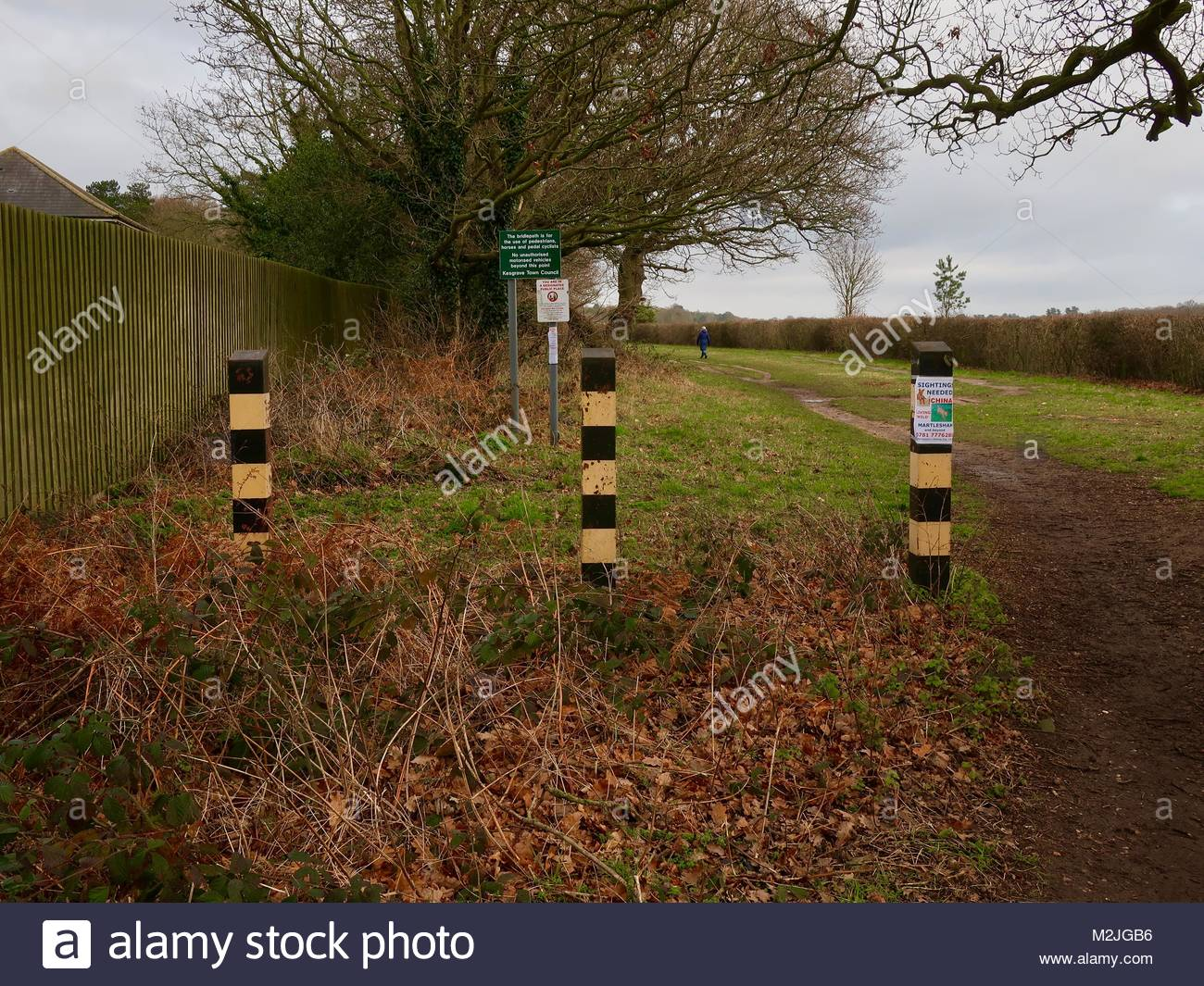 Three black and yellow vehicle access barriers at the Bell Lane end of Long Strops in Kesgrave. Land earmarked for - Stock Image