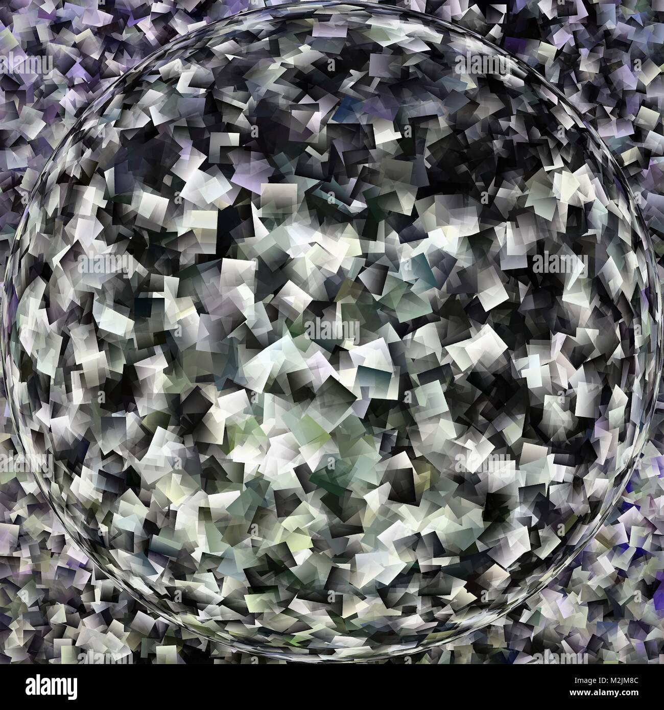 Abstract grey and black warped fractal sphere background - Stock Image