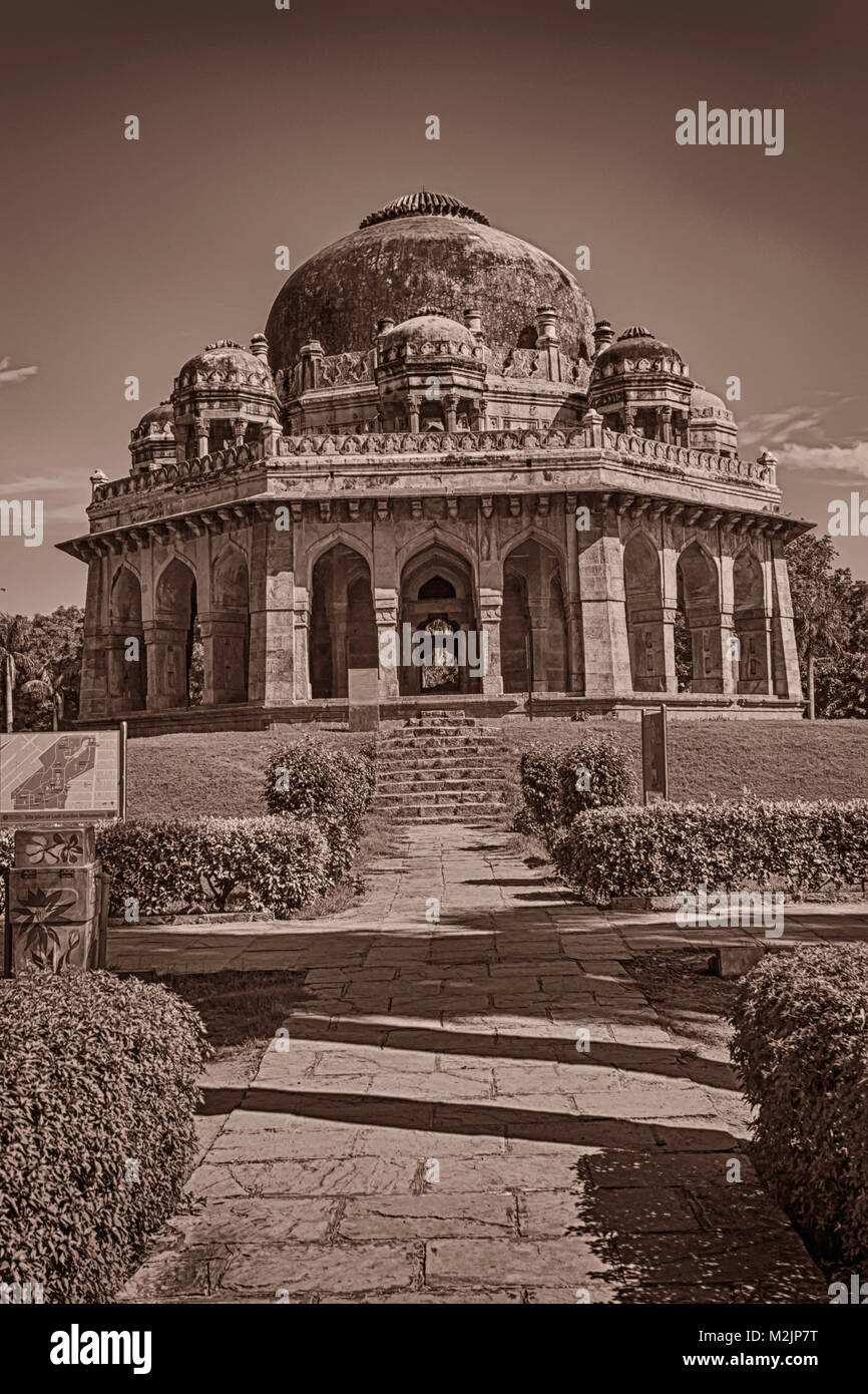 New Delhi , India- September 01, 2014-- A Overall View Of Mohammed Shah's Tomb In Lodhi Garden - Stock Image
