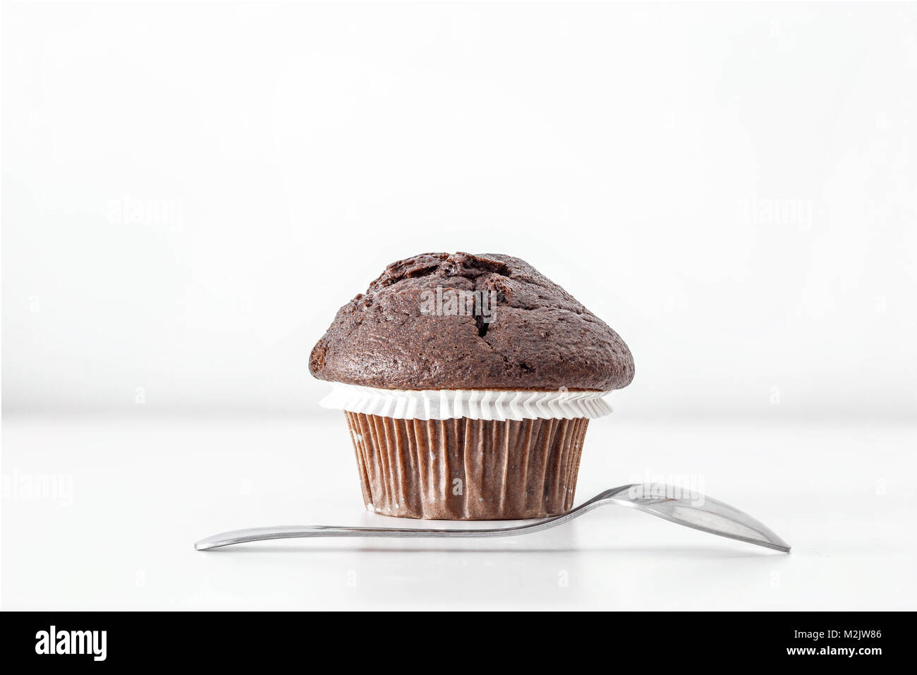 Delicious Chocolate Muffin on white background. Frontal view. Copy Space. - Stock Image