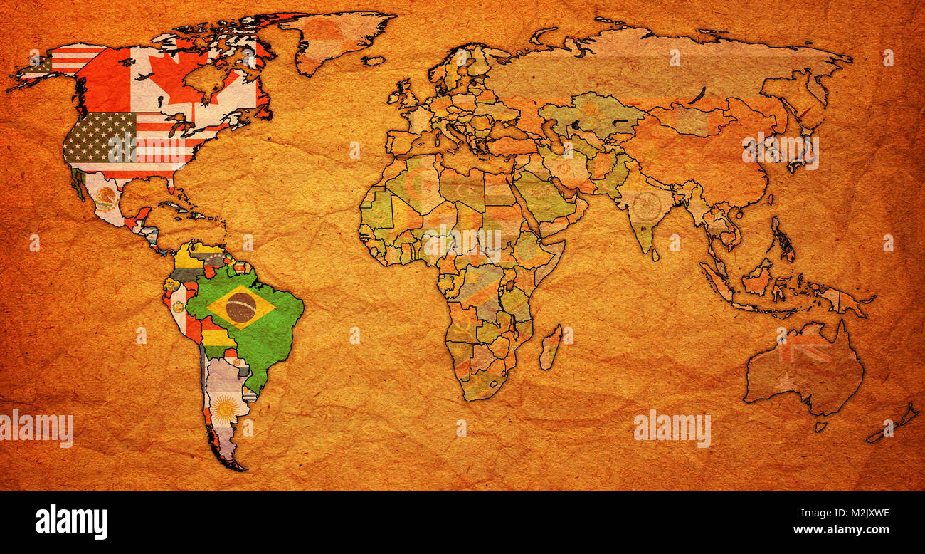 Organization of american states mamber countries flags on world map organization of american states mamber countries flags on world map with national borders gumiabroncs Images