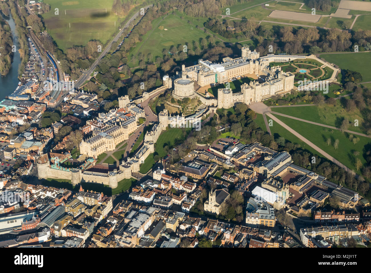 Aerial view of Windsor Castle from the SW Stock Photo