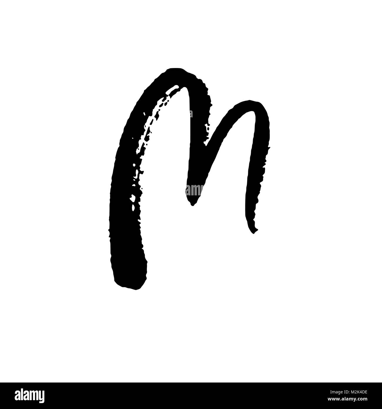 Letter M Handwritten By Dry Brush Rough Strokes Textured Font