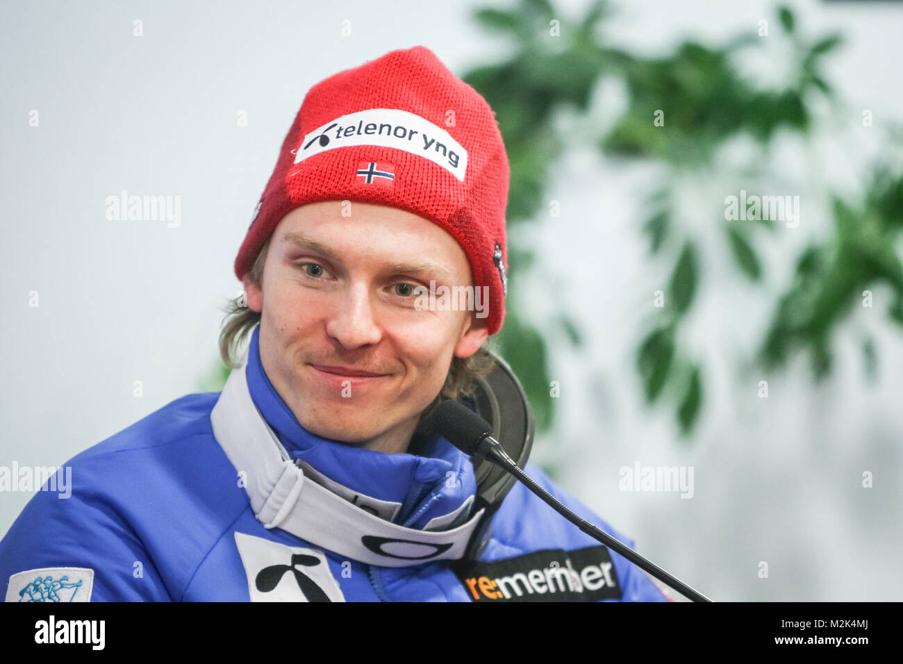 ZAGREB, CROATIA - JANUARY 4, 2018 : Press conference with third placed Henrik Kristoffersen of Norway on the Audi - Stock Image