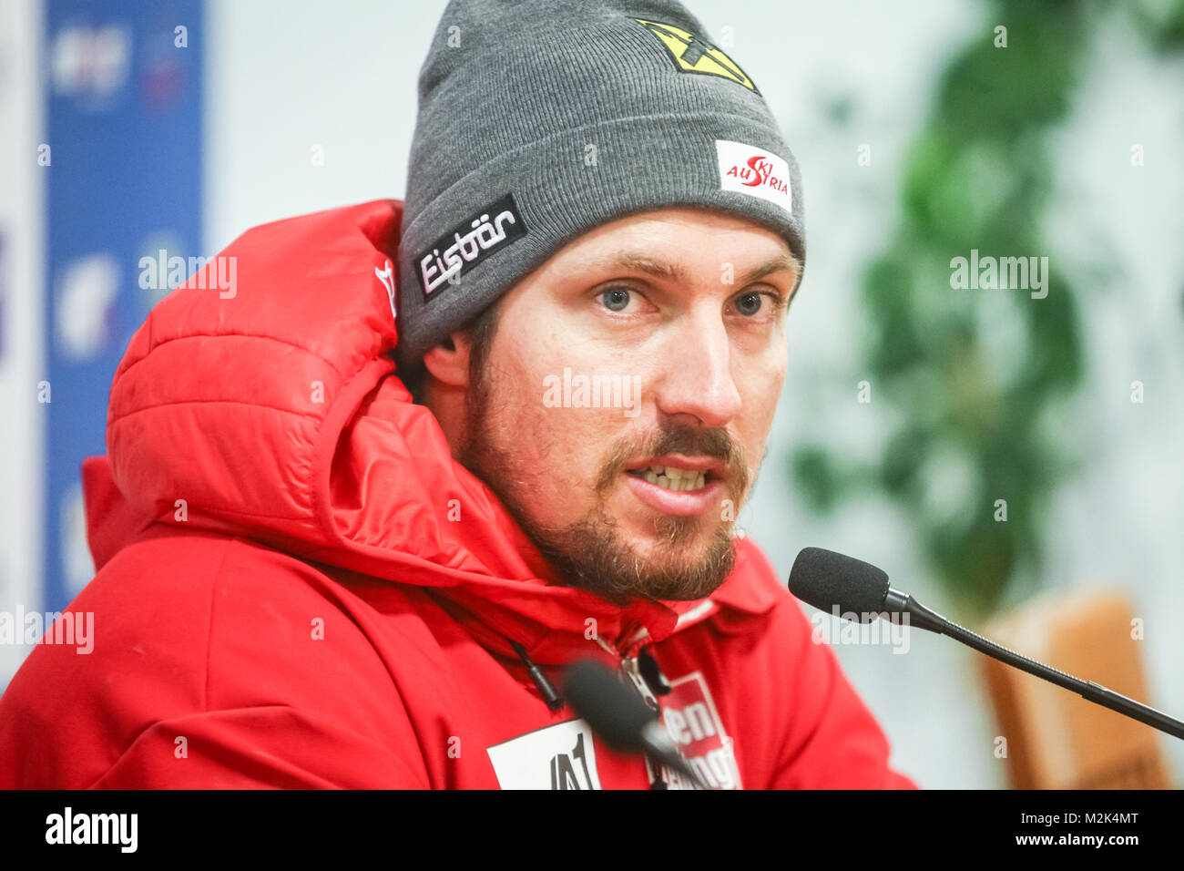 ZAGREB, CROATIA - JANUARY 4, 2018 :  Press conference with first placed Marcel Hirscher of Austria on the Audi FIS - Stock Image