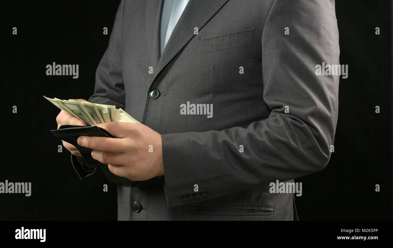 Rich Businessman Counting Dollars In Wallet Financial Success Stock Photo Alamy