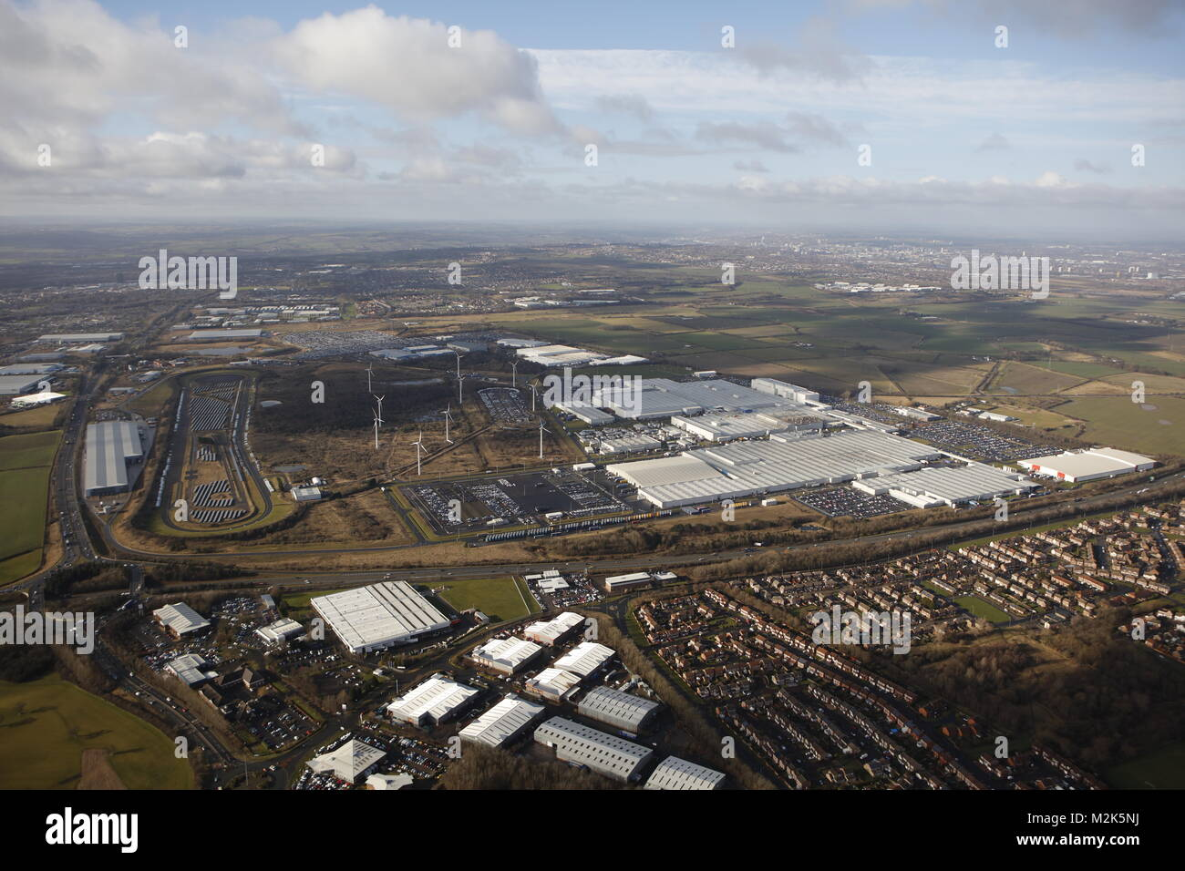 An aerial view of Nissan Motor Manufacturing UK, a large car manufacturing plant near Sunderland - Stock Image