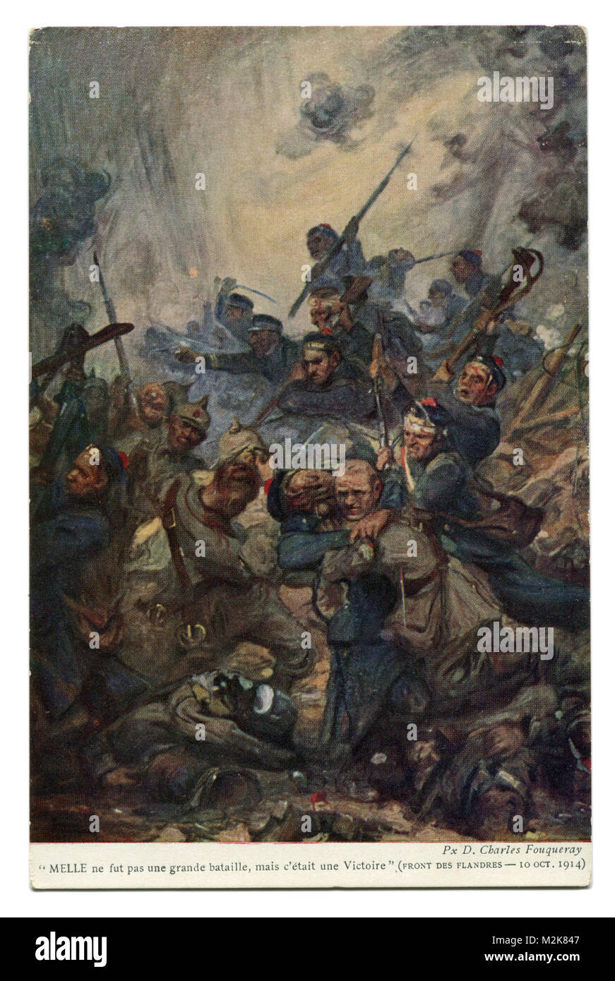 Old French postcard: The battle for Flanders, the Belgian Marines against German soldiers, Western front, October - Stock Image