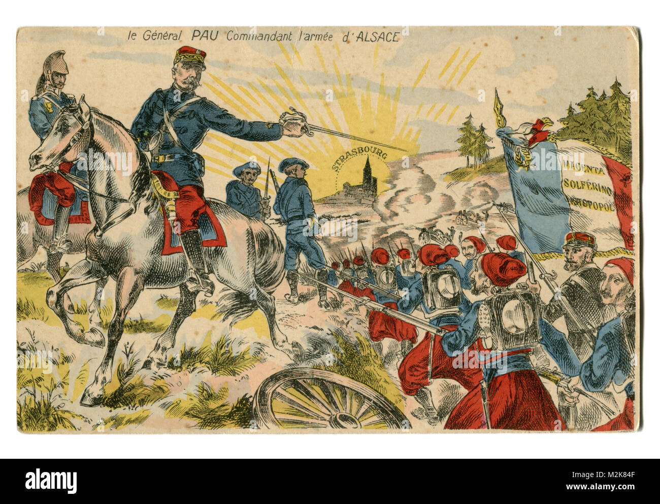 Old French postcard: General Paul Pau commander of the Alsatian army leads his troops to Strasbourg,  Great war, - Stock Image