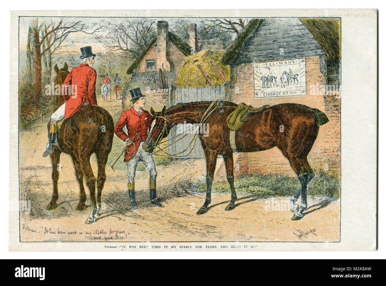 Old English postcard: Gentlemen in red frock coats, black cylinders riding horses on a background of brick cottages - Stock Image