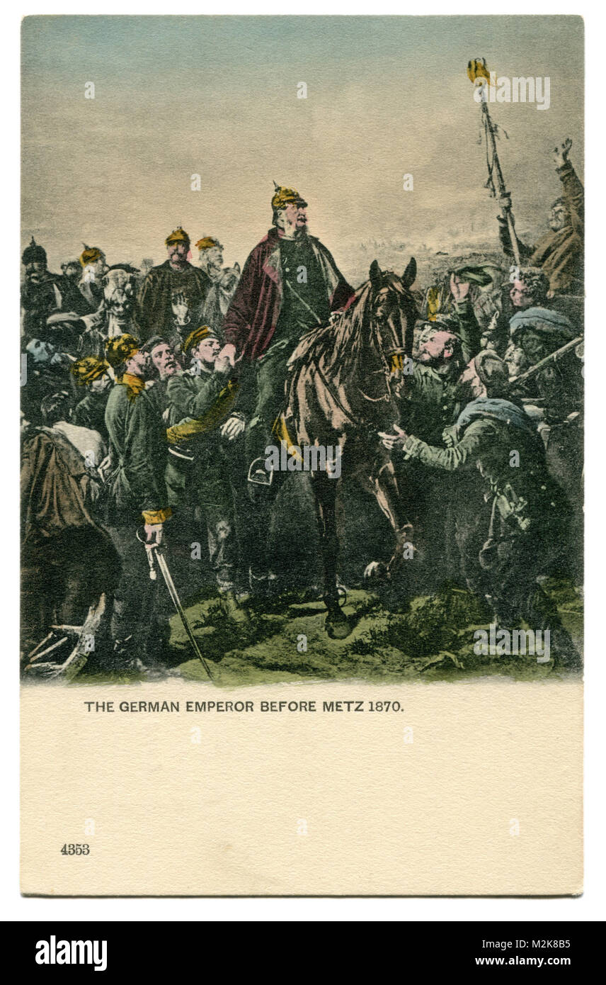 Old English postcard: German Emperor William I, after the siege of Metz, in the Franco-Prussian war of 1870-71, - Stock Image