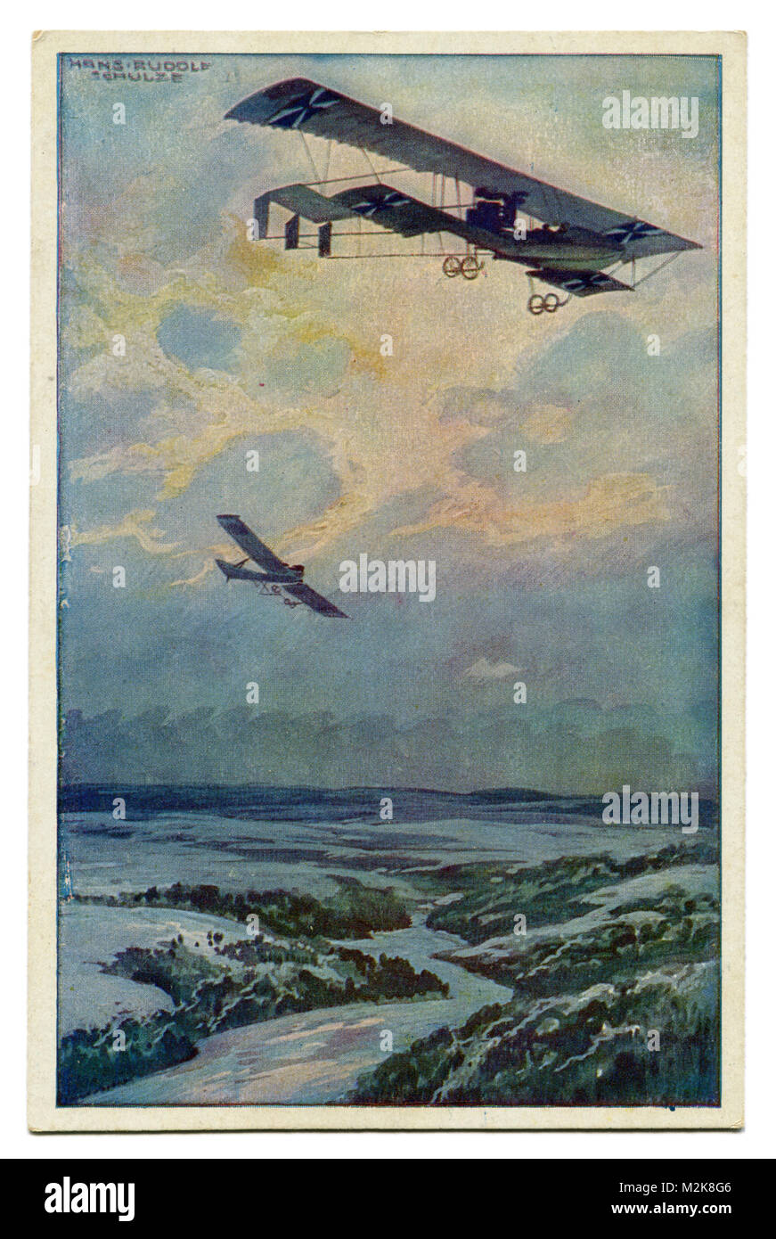 Old German postcard military biplane on a reconnaissance flight over the argon forest. The first world war of 1914 Stock Photo
