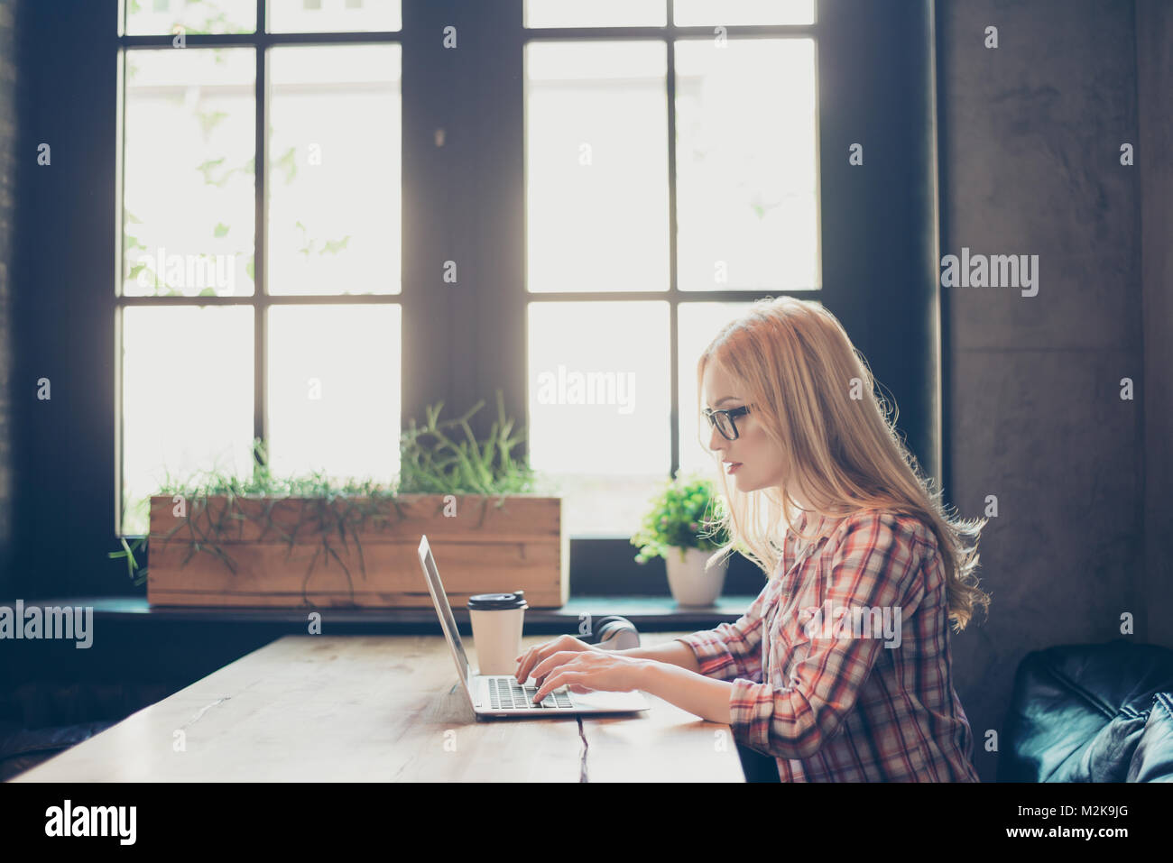 Side profile half-faced photo of busy concentrated smart clever beautiful woman wearing checkered shirt and glasses, - Stock Image