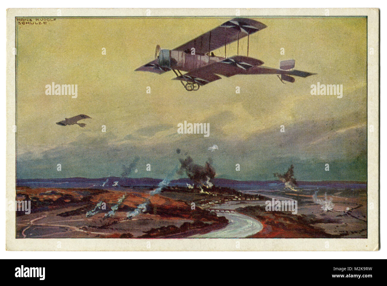 Old German postcard military biplane on a reconnaissance flight on the river Marne. The first world war of 1914 Stock Photo