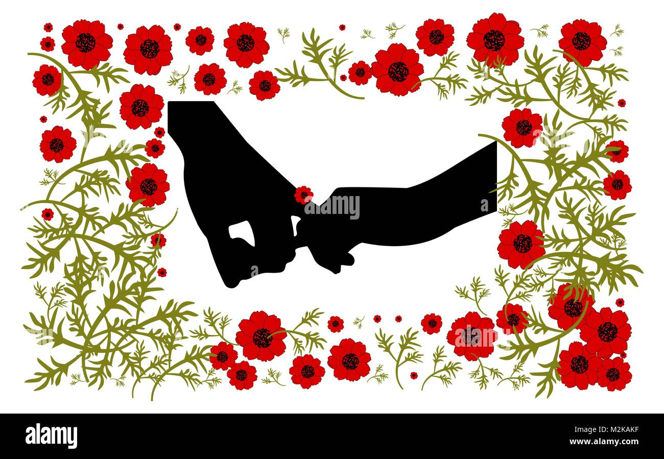 St. Valentine's Day. Background with red poppies to the day of St. Valentina. - Stock Vector
