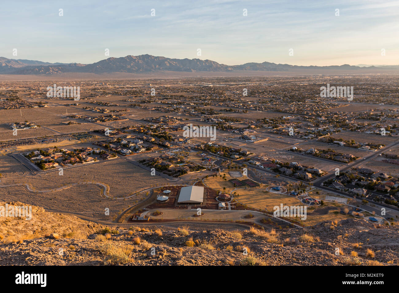 Early morning view of northwest Las Vegas from the top of Lone Mountain in Clark County Nevada. Stock Photo