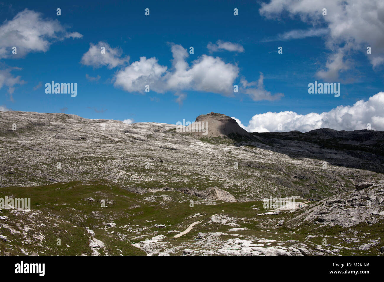 View across Parco Naturale Puez Geisler to the Col dala Sone from near Forc de Ciampei the Dolomites near Selva Stock Photo