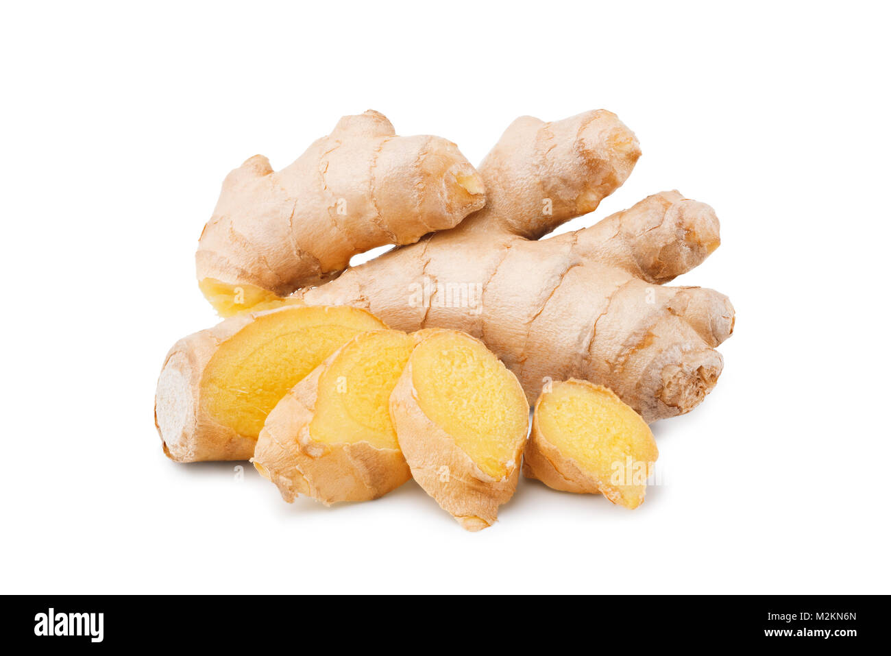 Ginger root with slices isolated on white - Stock Image