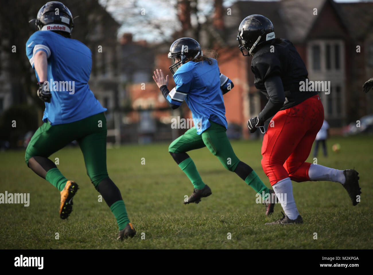 Cardiff, Wales, UK. 4th February 2018. The Cardiff Valkries, the only Welsh women's American Football team, - Stock Image