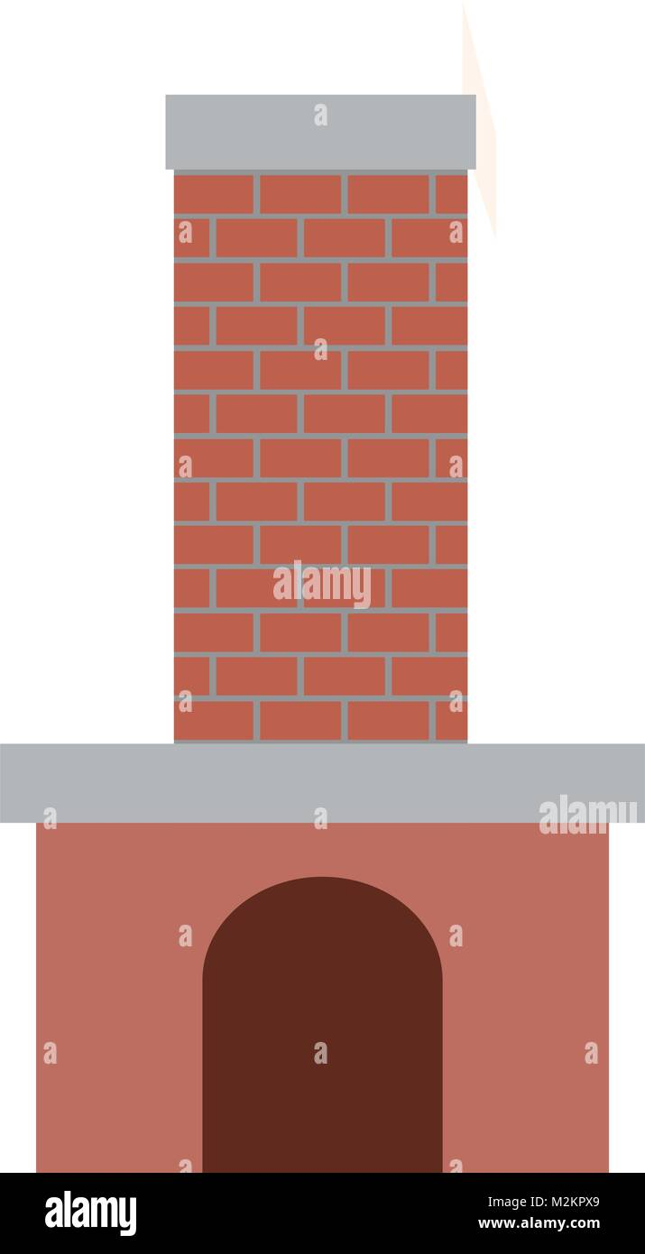 brick fireplace on colorful silhouette - Stock Vector