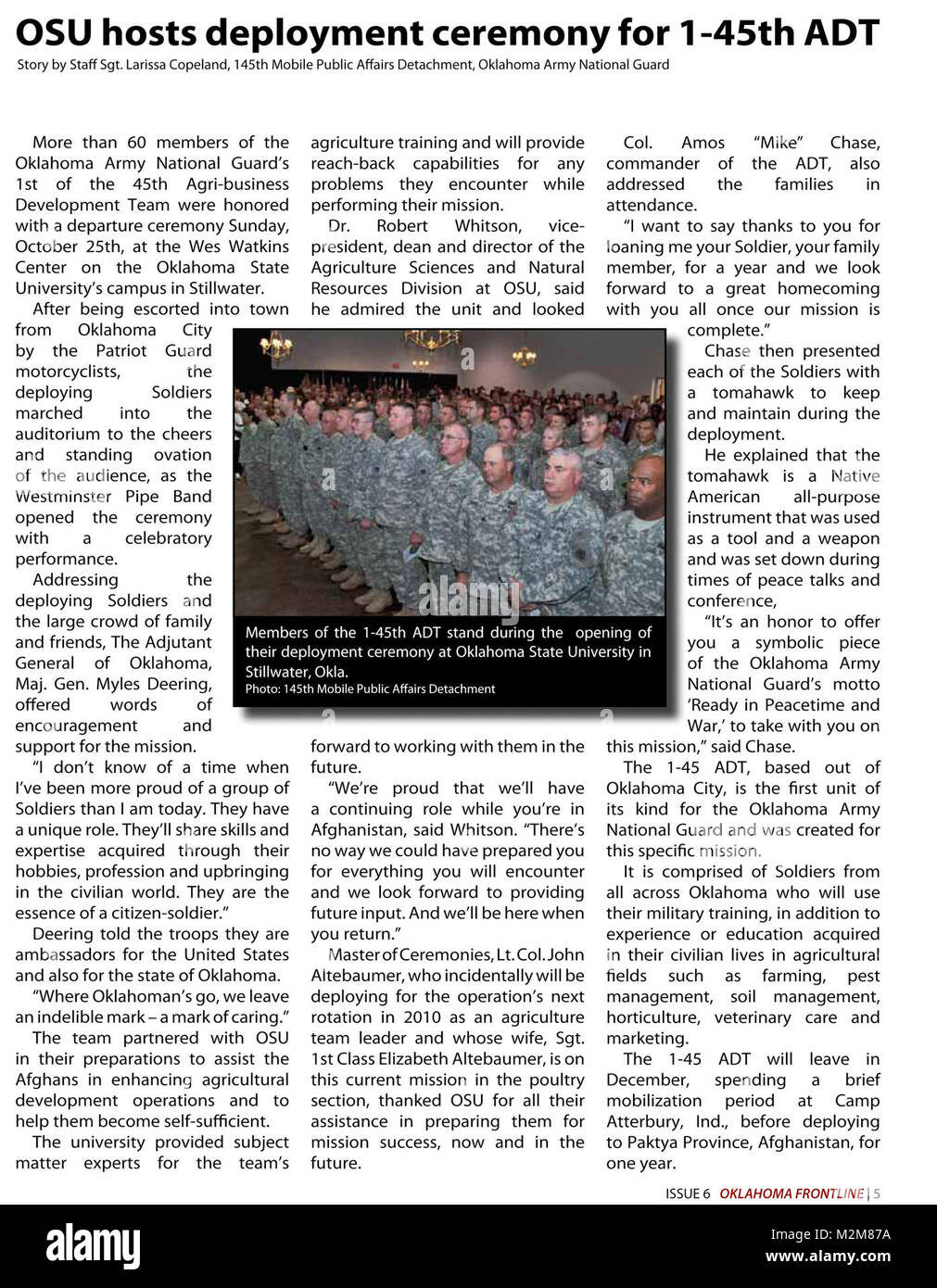 Community Newspaper December 2009 Frontline Page 5 by Oklahoma National Guard Stock Photo