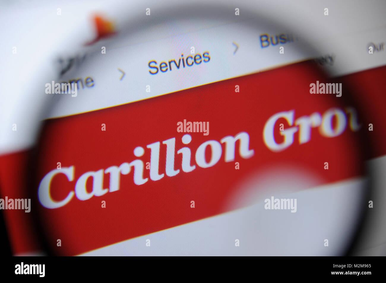 The Carillion Group logo on PWC website - Stock Image