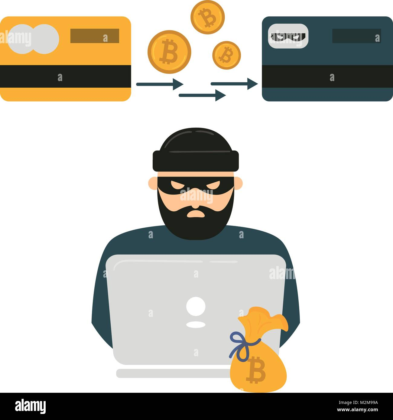 Hacker, laptop and bitcoin cryptocurrency robbery - Stock Vector