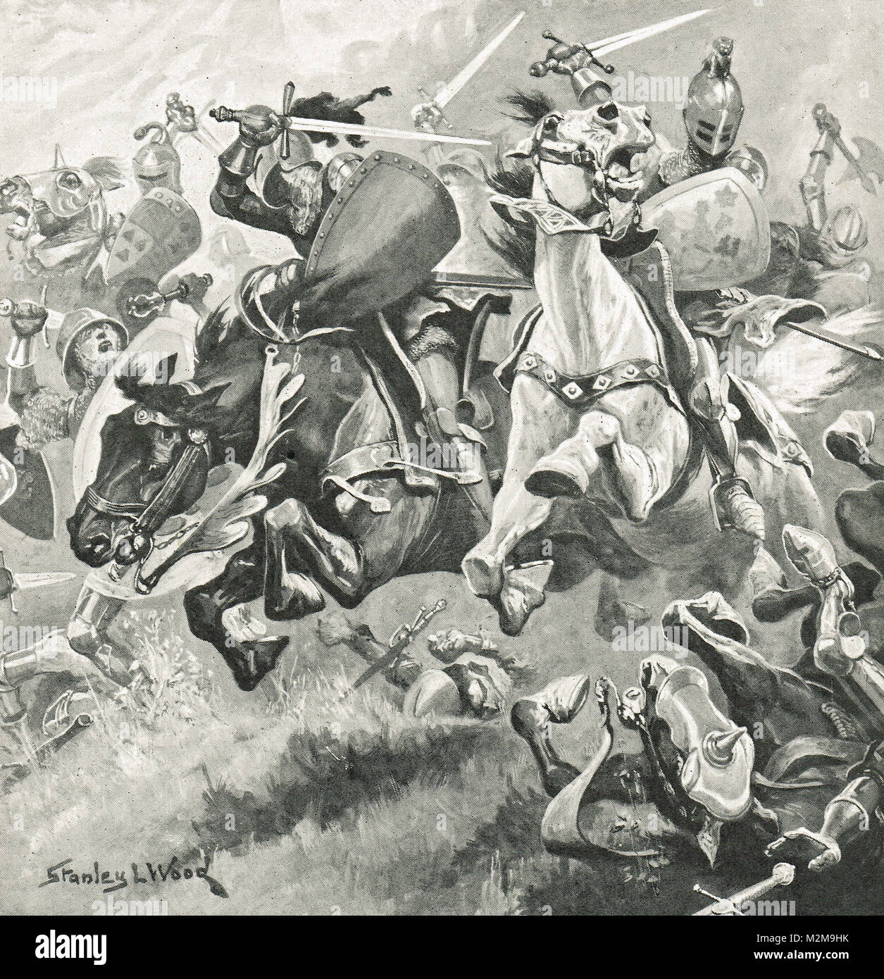Henry Hotspur Percy and Archibald Douglas riding side by side, leading a charge on the king, Battle of Shrewsbury, - Stock Image