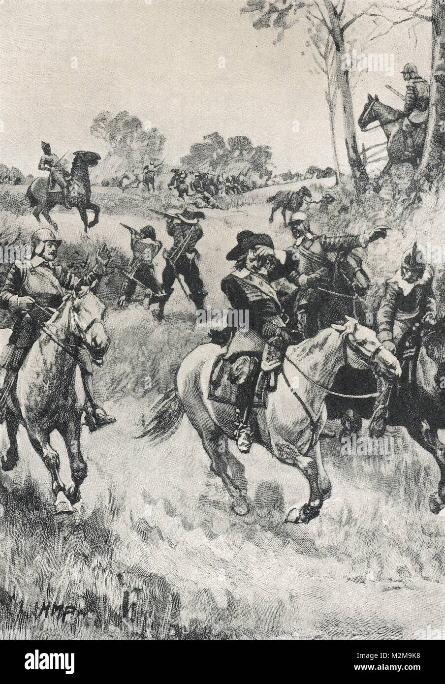 The parliamentarian John Hampden mortally wounded, at the Battle of Chalgrove Field, 18 June 1643 during the English - Stock Image