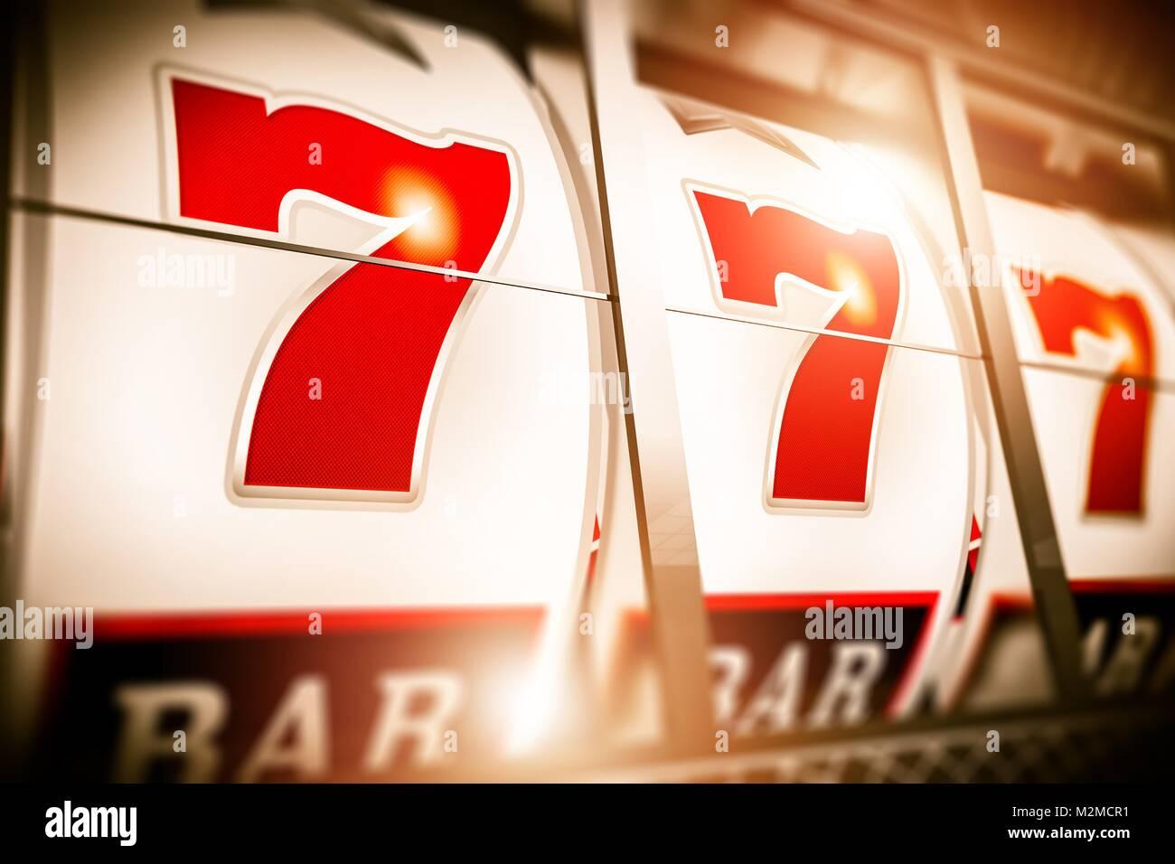 Slot Fruit Machine Closeup. Lucky Triple Seven Jackpot. 3D Rendered Illustration. - Stock Image