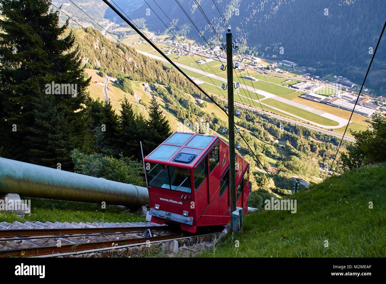 The cable car to Lago Ritóm, Switzerland Stock Photo
