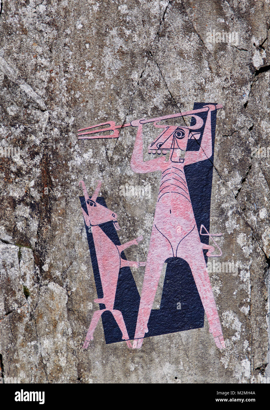 Painting of the devil and the billy goat, Schöllenen, Switzerland Stock Photo