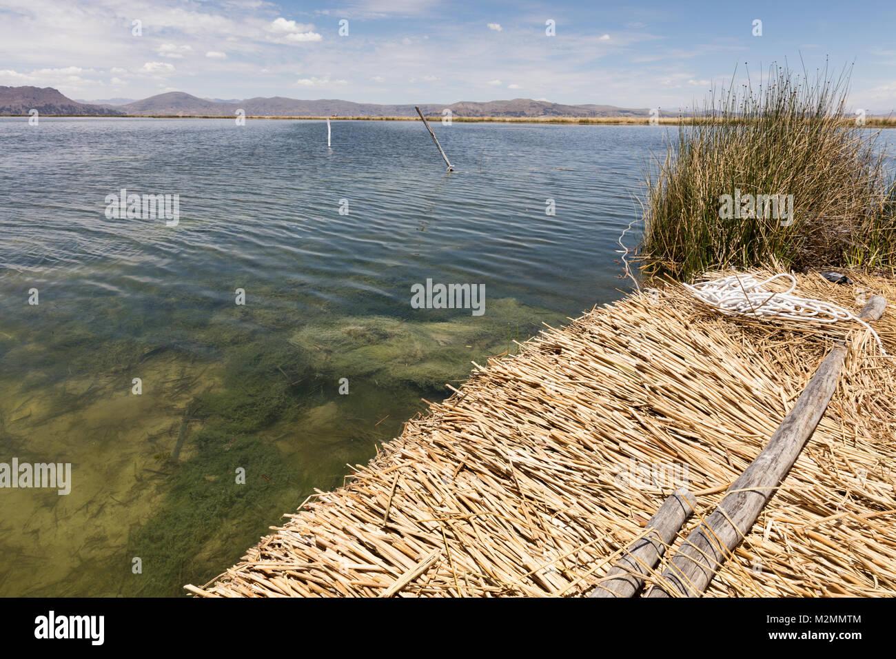 Floating island  on the Titicaca lake near Puno, Peru - Stock Image