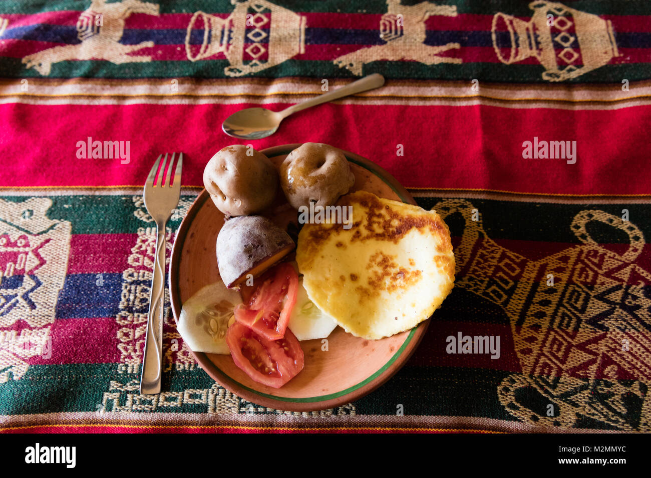 traditional meal  on the Titicaca lake near Puno, Peru - Stock Image