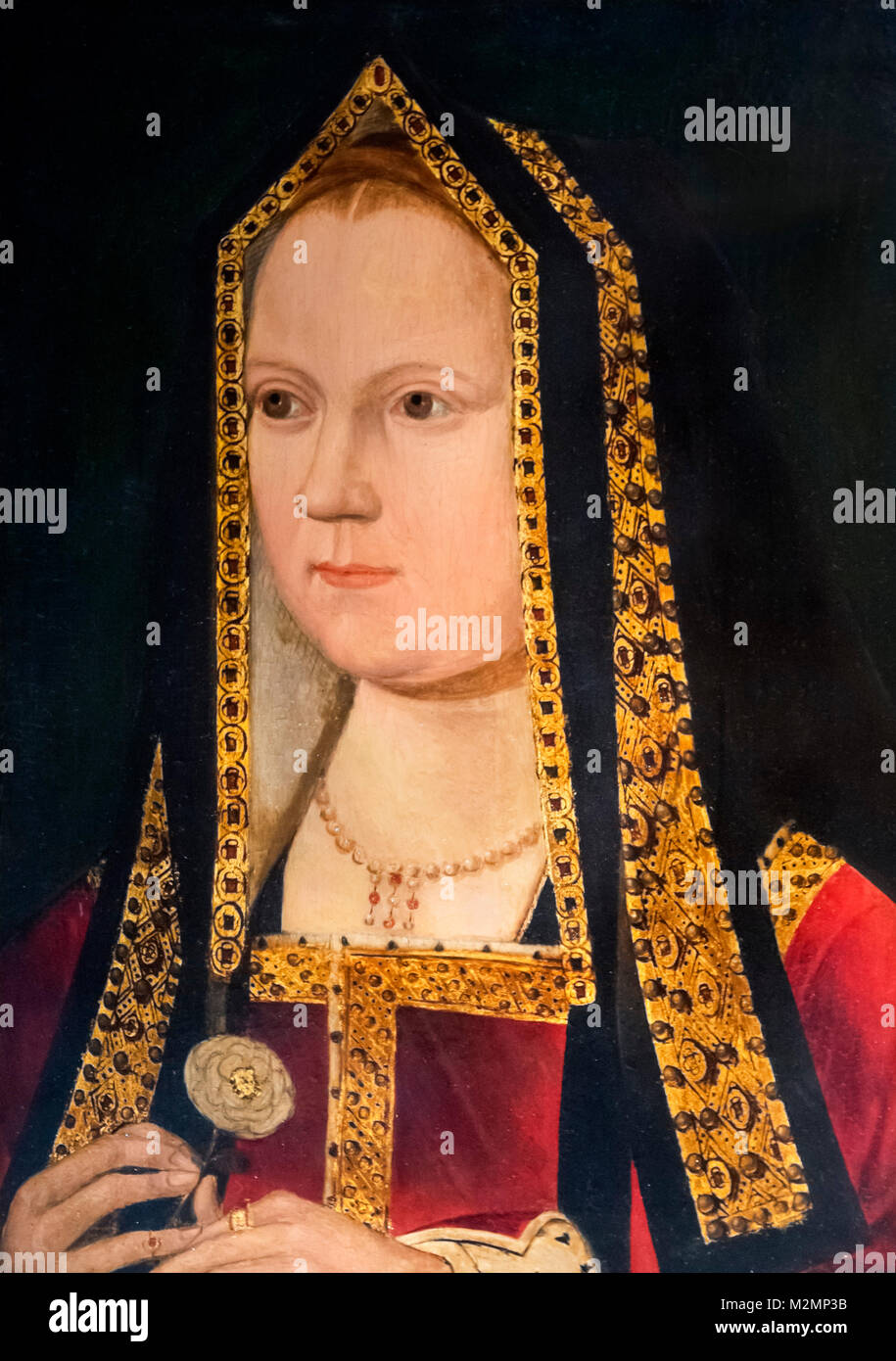 Elizabeth of York (1466-1503). Portrait of wife of King Henry VII and mother of King Henry VIII, unknown artist, - Stock Image