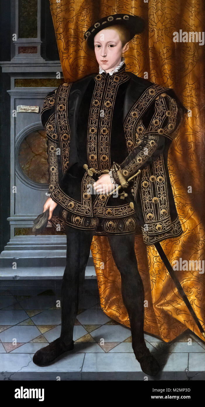 Edward VI. Portrait of King Edward VI of England (1537-1553), oil on panel, attributed to Willam Scrots (Stretes), - Stock Image