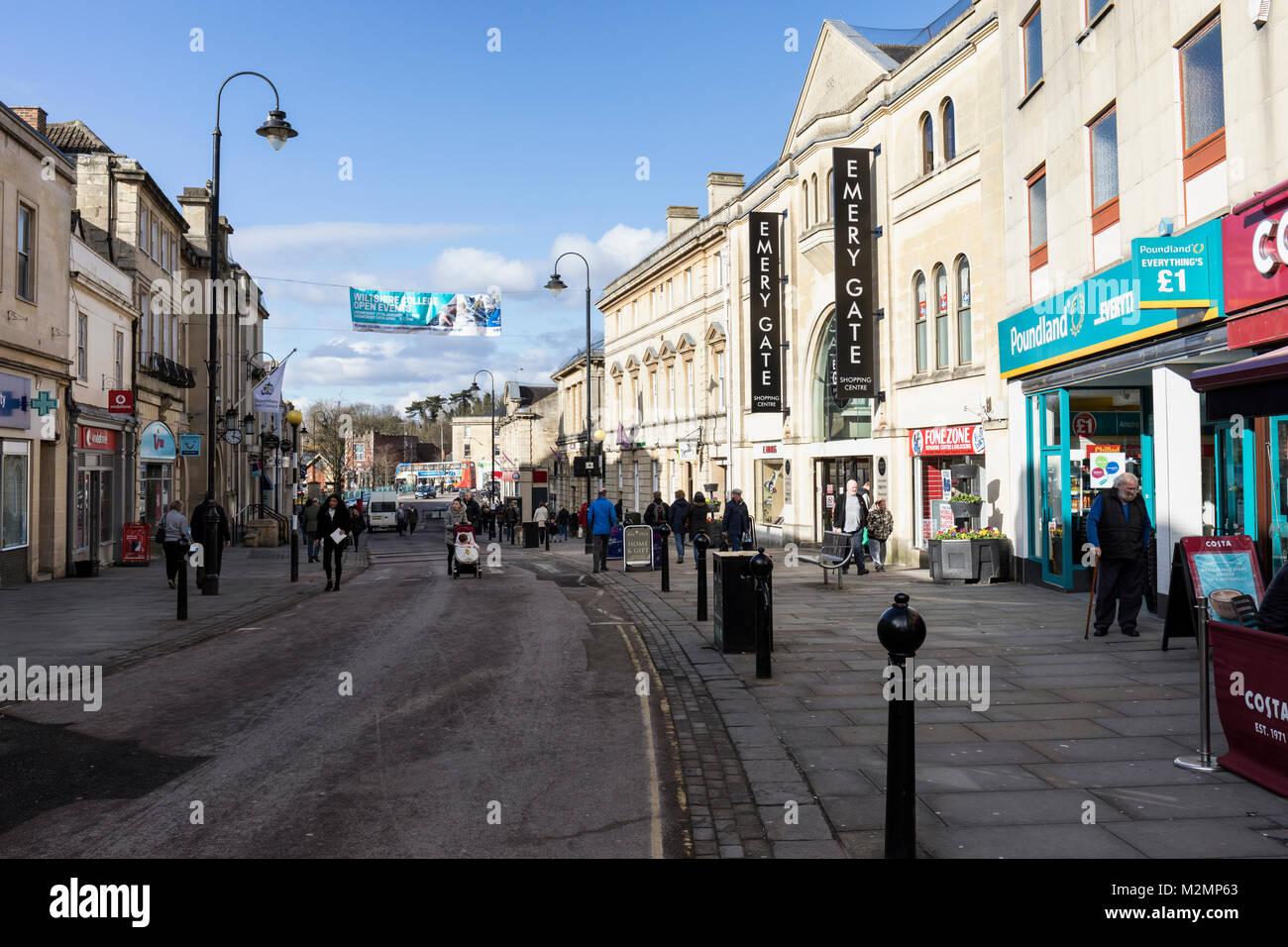 Chippenham high street, Wiltshire, England - Stock Image