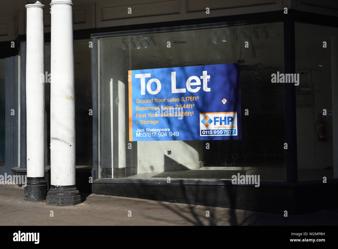 Retail Shop To LET IN Nottingham,UK. - Stock Image