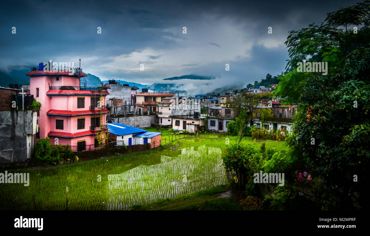 view from balcony of the hotel overlooking residential units in Besisahar in Nepal after completion of Annapurna Stock Photo