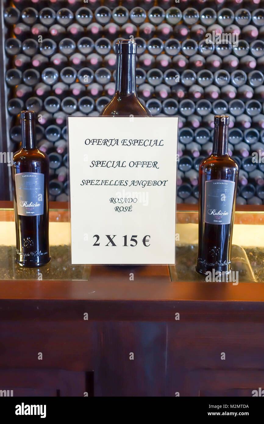 La Geria, Lanzarote - 8th Nov 2017. A bottle of Rose on sale to tourists who visit the local winery, Bodega La Geria. - Stock Image